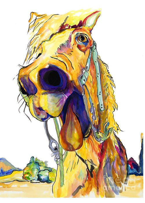 Animal Painting Greeting Card featuring the painting Horsing Around by Pat Saunders-White