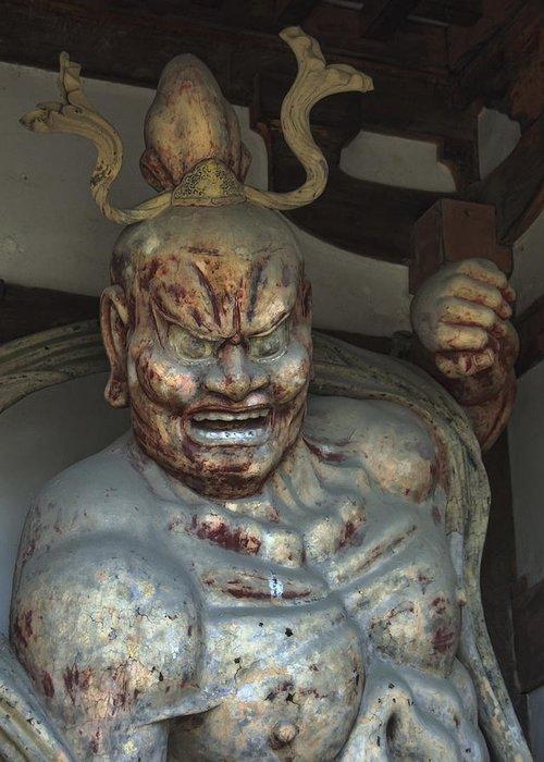 Temple Greeting Card featuring the photograph Horyu-ji Temple Gate Guardian - Nara Japan by Daniel Hagerman
