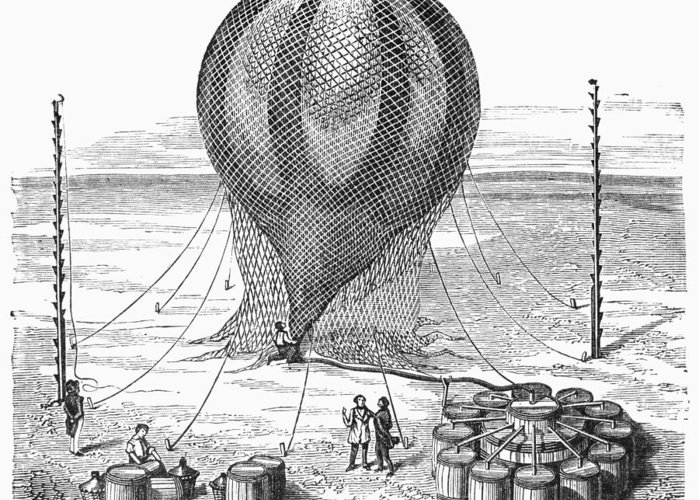19th Century Greeting Card featuring the photograph Hot Air Balloon Inflation by Granger