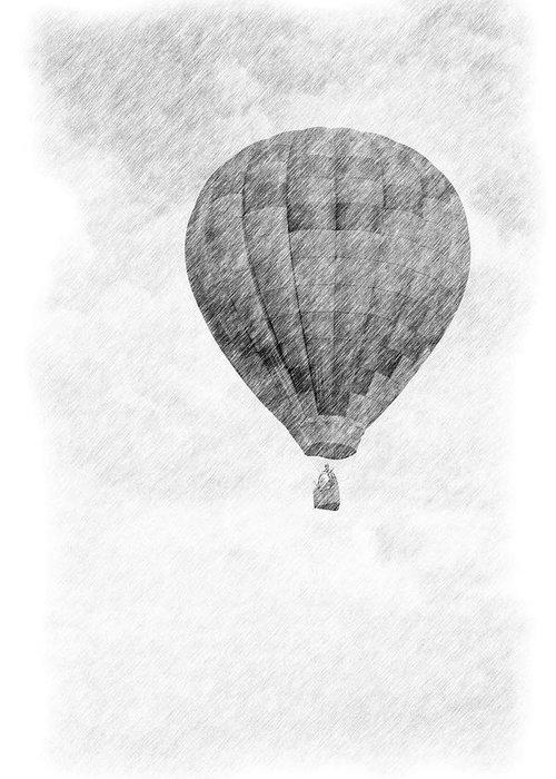 Hot Air Balloon Pencil Drawing Greeting Card