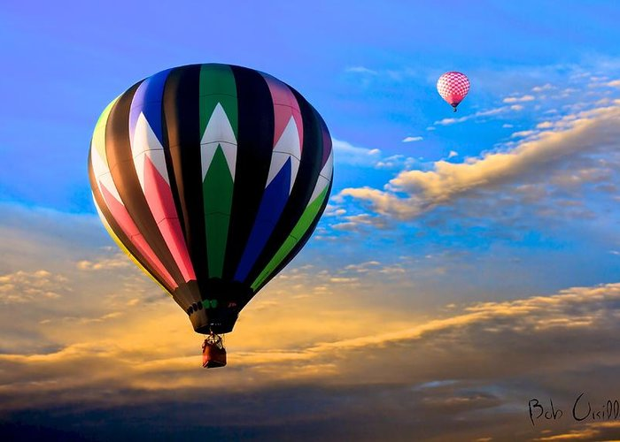 Hot Air Balloon Greeting Card featuring the photograph Hot Air Balloons At Sunset by Bob Orsillo