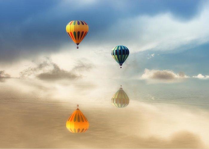 Hot Air Balloons Greeting Card featuring the photograph Hot Air Balloons Water Reflections by Tracie Kaska