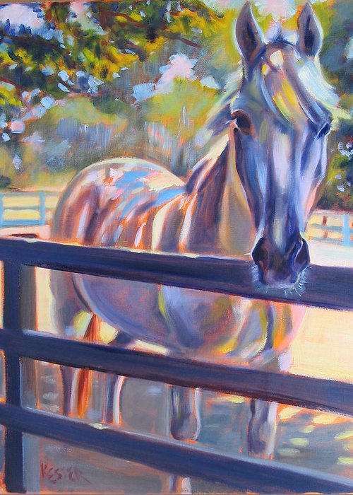 Horse Greeting Card featuring the painting Hot And Humid by Kaytee Esser