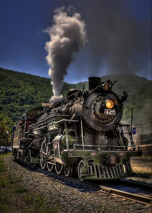 Jim Thorpe Greeting Card featuring the photograph Hot And Steamy by Evelina Kremsdorf