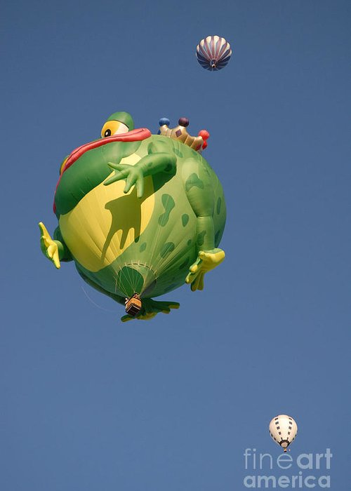Hot Air Balloon Greeting Card featuring the photograph Hot Frog by Dennis Hammer