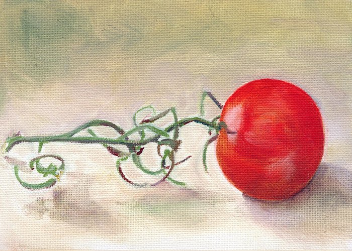 Food Greeting Card featuring the painting Hot-house Tomato by Sarah Lynch