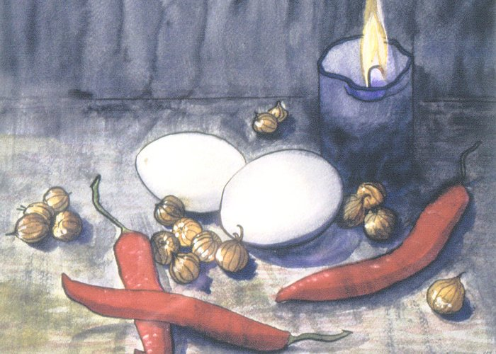 Still Life Greeting Card featuring the painting Hot Kitchen by Christina Rahm Galanis