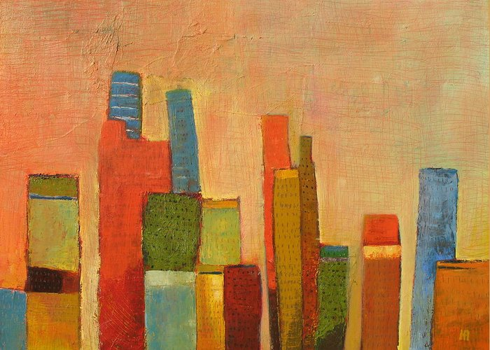 Abstract Cityscape Greeting Card featuring the painting Hot Manhattan by Habib Ayat
