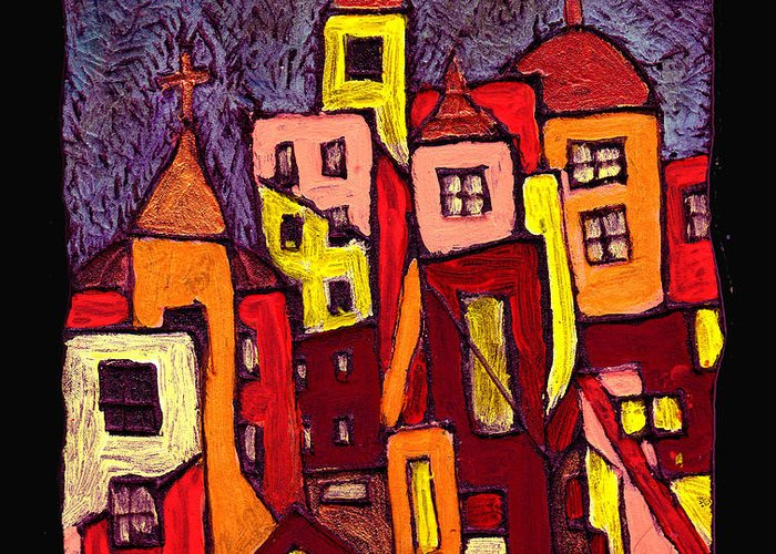 City Scapes Greeting Card featuring the painting Hot Night In The City by Wayne Potrafka