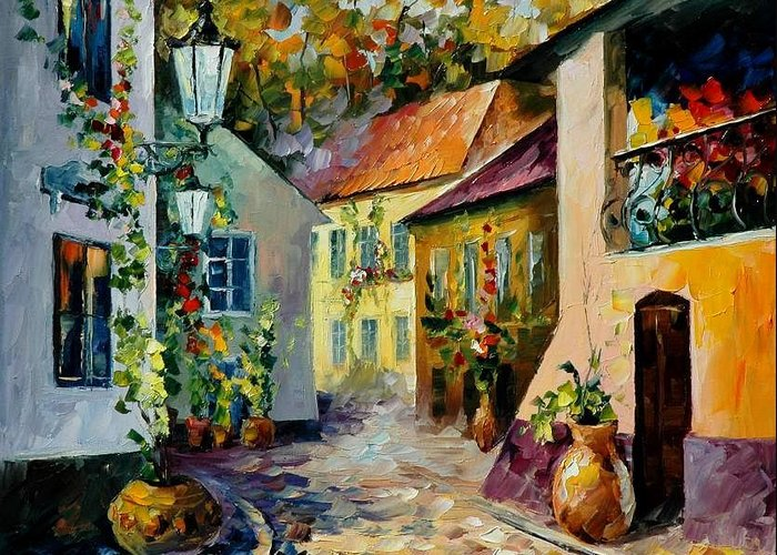 Landscape Greeting Card featuring the painting Hot Noon Original Oil Painting by Leonid Afremov