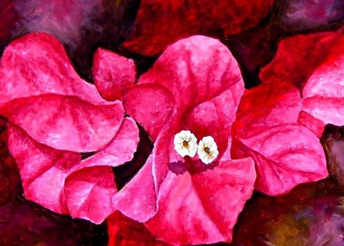 Oil Greeting Card featuring the painting Hot Pink Bougainvillea by Darla Brock