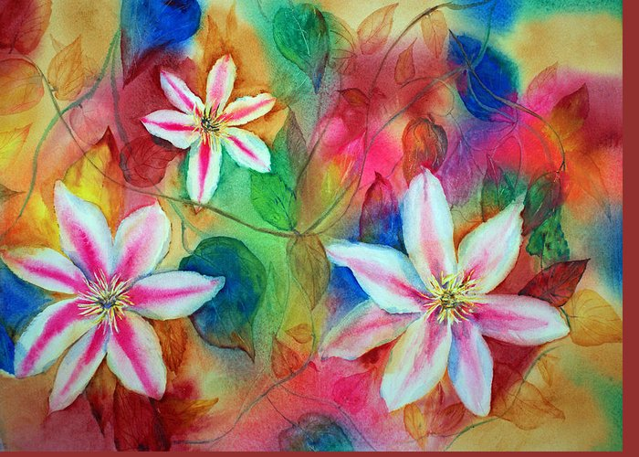 Clematis Greeting Card featuring the painting Hot Pink by Tina Storey
