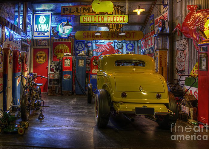 Garage Greeting Card featuring the photograph Hot Rod Garage 3 by Stuart Row