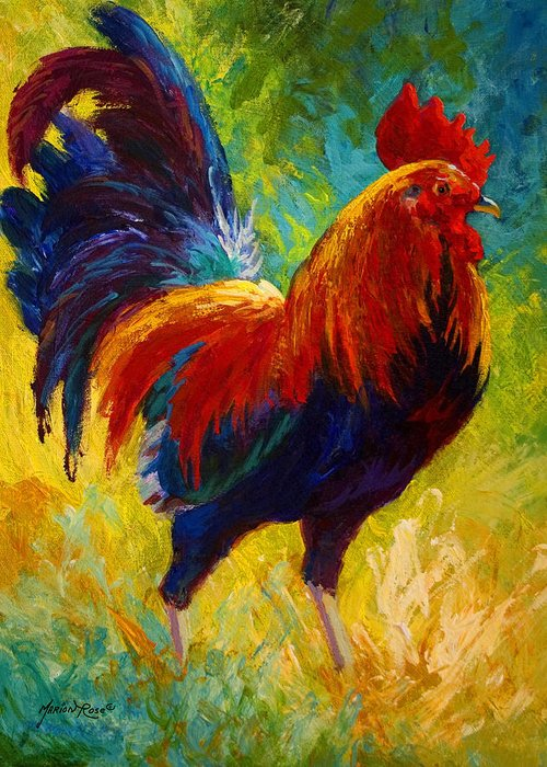 Rooster Greeting Card featuring the painting Hot Shot - Rooster by Marion Rose