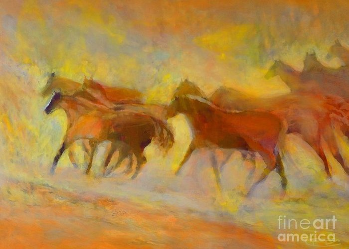 Horses Greeting Card featuring the painting Hot Things by Kip Decker