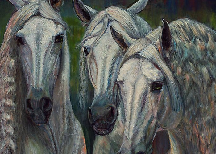 Horse Paintings Greeting Card featuring the painting Hot To Trot by Rita Cortesi