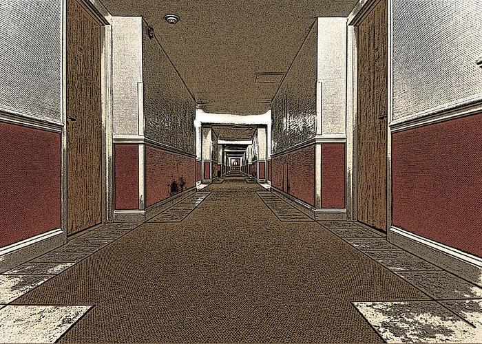 Hotel Greeting Card featuring the photograph Hotel Hallway. by Robert Ponzoni