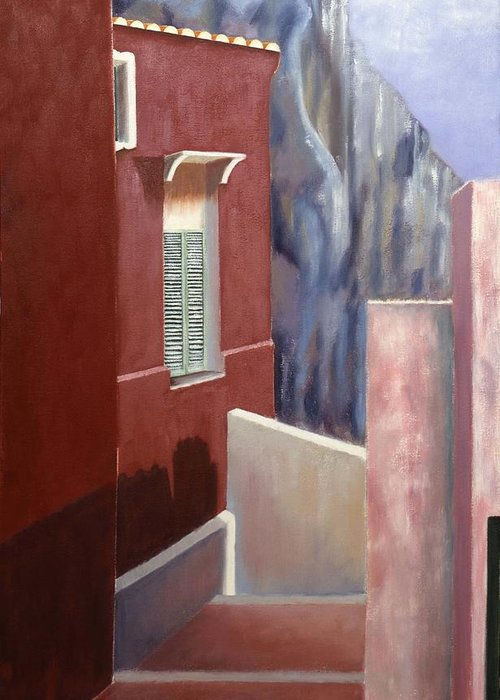 Landscape Greeting Card featuring the painting Hotel In The Cliff by Gloria Cigolini-DePietro