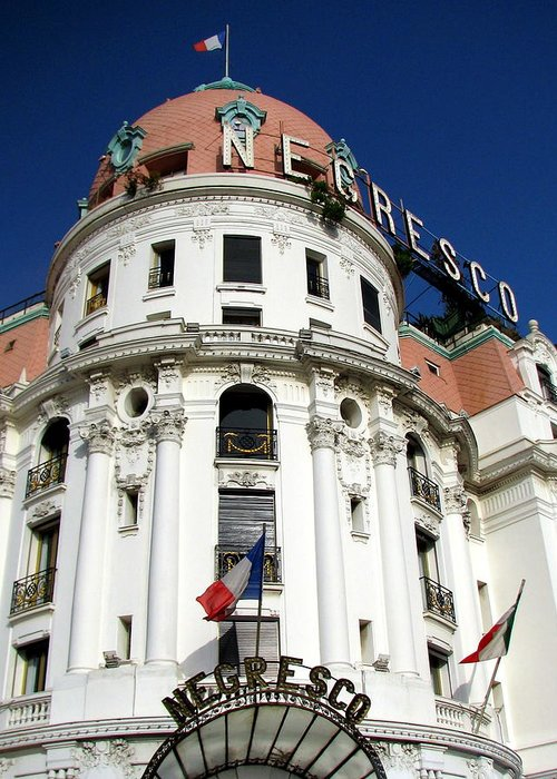 Hotel. Negresco Greeting Card featuring the photograph Hotel Negresco In Nice by Carla Parris