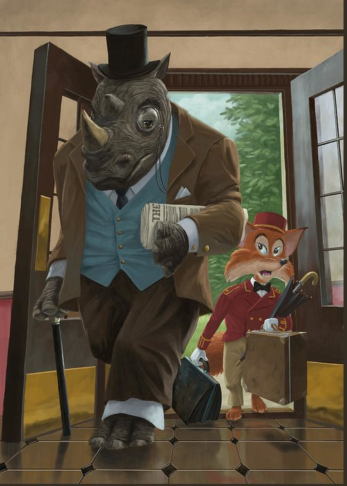 Rhino Greeting Card featuring the painting Hotel Rhino And Porter Fox by Martin Davey
