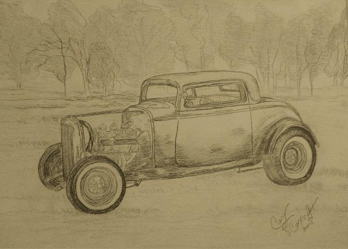 Antique Car Greeting Card featuring the painting Hotrod 1934 Ford Coupe by Cary Singewald