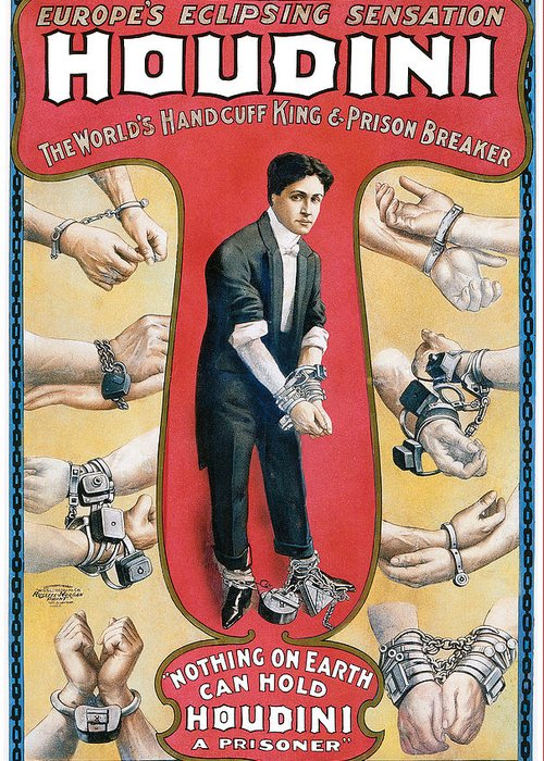 Houdini Greeting Card featuring the painting Houdini The Worlds Handcuff King by Unknown
