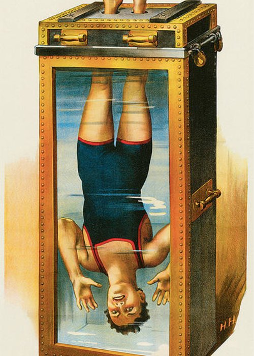 Houdini Greeting Card featuring the painting Houdini Water Filled Torture Cell by Unknown