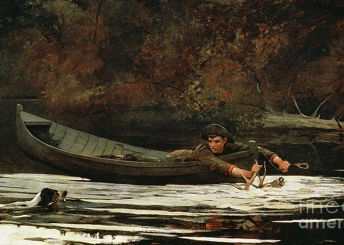 Hound And Hunter Greeting Card featuring the painting Hound And Hunter by Winslow Homer