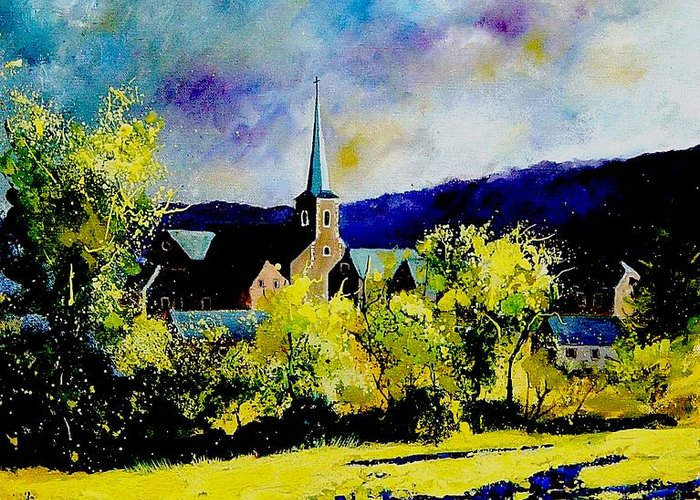 Poppies Greeting Card featuring the painting Hour Village Belgium by Pol Ledent