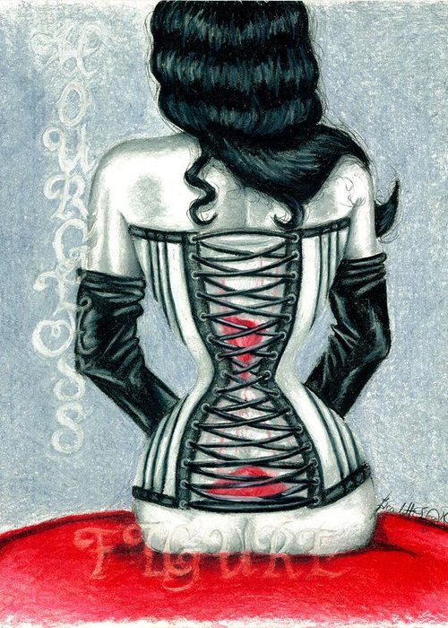 Erotic Greeting Card featuring the drawing Hourglass Figure by Scarlett Royal