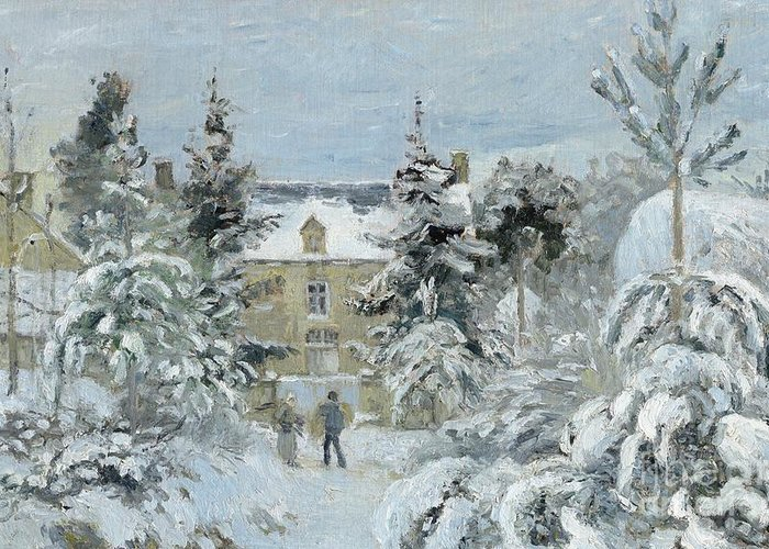 Winter Greeting Card featuring the painting House At Montfoucault by Camille Pissarro