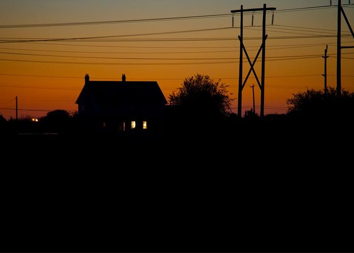 Sunset Greeting Card featuring the photograph House At Sunset by Paul Kloschinsky