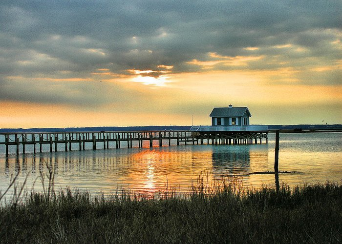 Home Greeting Card featuring the photograph House At The End Of The Pier by Steven Ainsworth