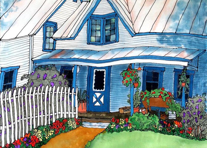 Church Greeting Card featuring the painting House Fence And Flowers by Linda Marcille