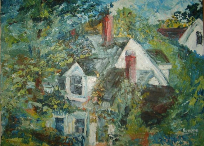Landscape Trees House Greeting Card featuring the painting House In Gorham by Joseph Sandora Jr