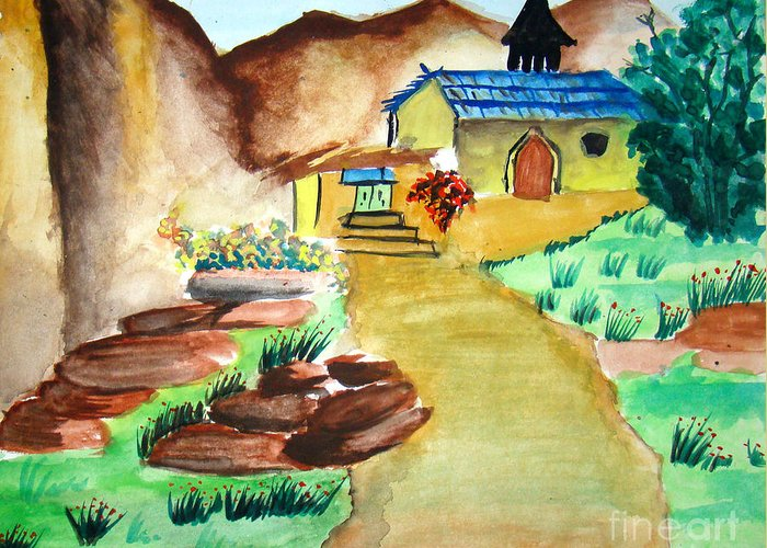 Hills Greeting Card featuring the painting House in Hills by Tanmay Singh