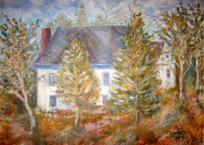 Landscape Trees House Greeting Card featuring the painting House In Portland by Joseph Sandora Jr