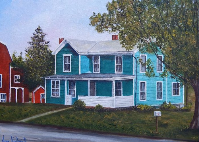 Seward House Greeting Card featuring the painting House in Seward by Anne Kushnick