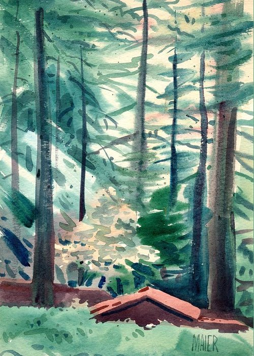 La Honda Greeting Card featuring the painting House In The Redwoods by Donald Maier