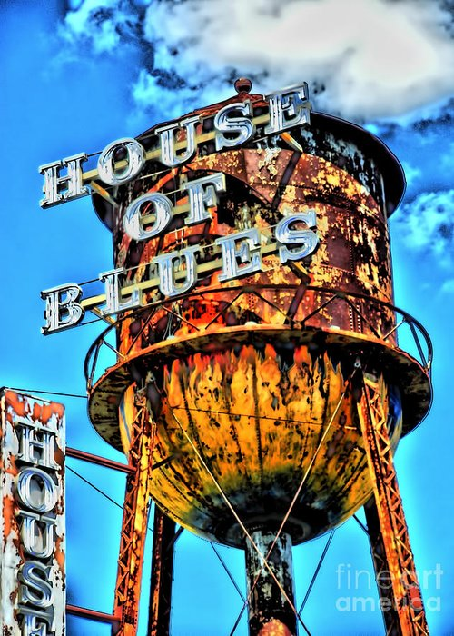 Motorcycle Art Greeting Card featuring the photograph House Of Blues Orlando by Corky Willis Atlanta Photography