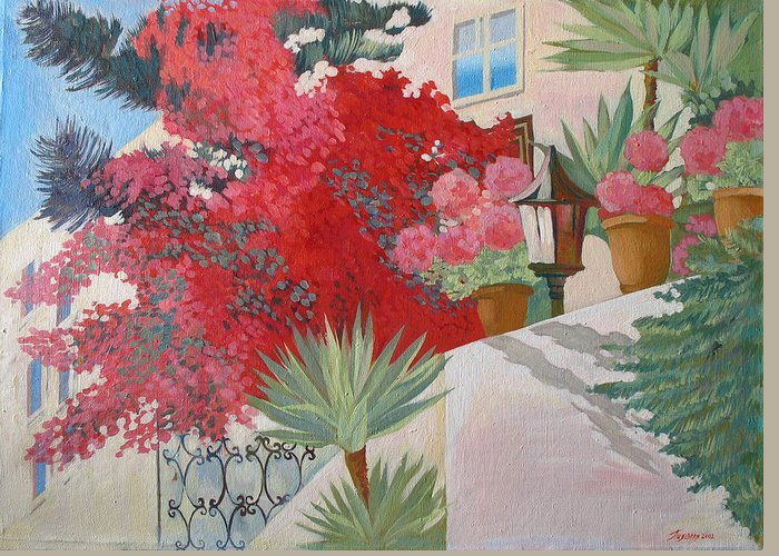Landscape Greeting Card featuring the painting House Of The Cypriot.2003 by Natalia Piacheva