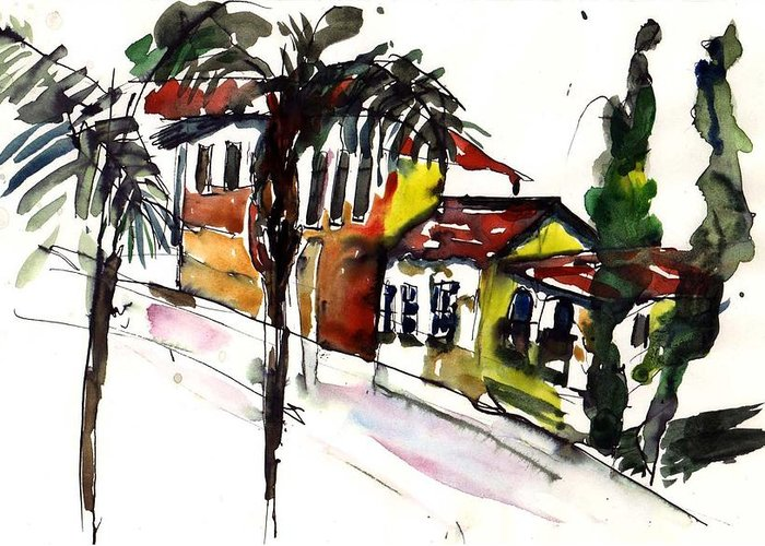 House Greeting Card featuring the painting House Of Two Palms by Lily Hymen
