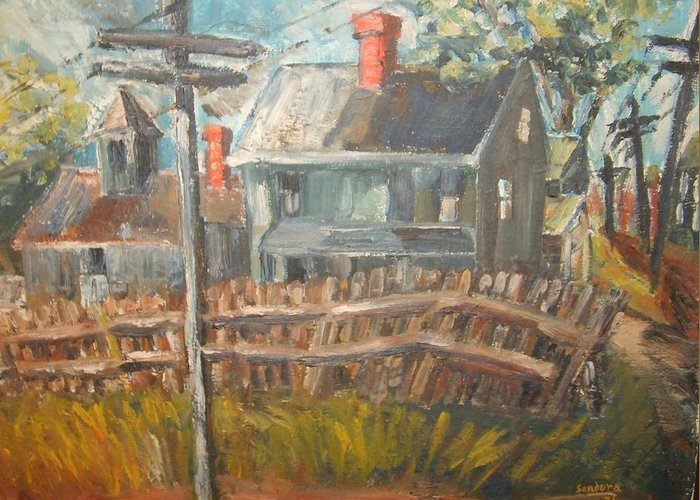 Landscape Greeting Card featuring the painting House On Allen Ave by Joseph Sandora Jr