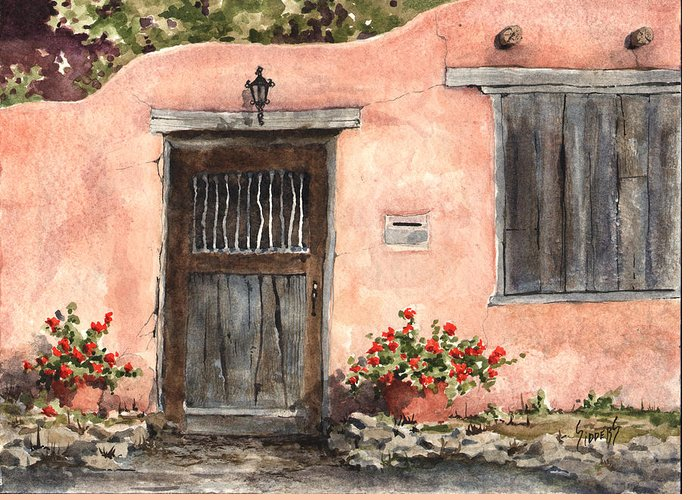 House Greeting Card featuring the painting House On Delgado Street by Sam Sidders