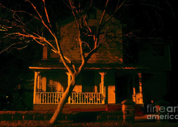 Haunted House Greeting Card featuring the painting House On Haunted Hill by David Lee Thompson