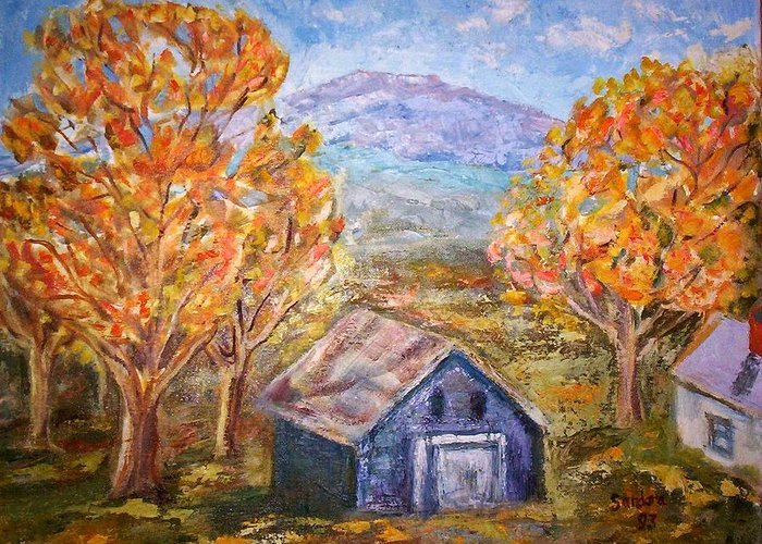 Landscape Mountain Fall Trees Barn Greeting Card featuring the painting House On Mountain by Joseph Sandora Jr