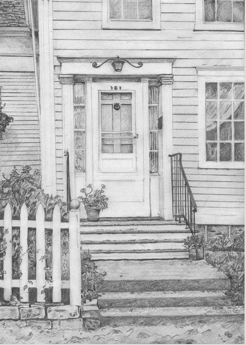 Old House Portrait Greeting Card featuring the drawing House On Nicollet Island by Sue Olson