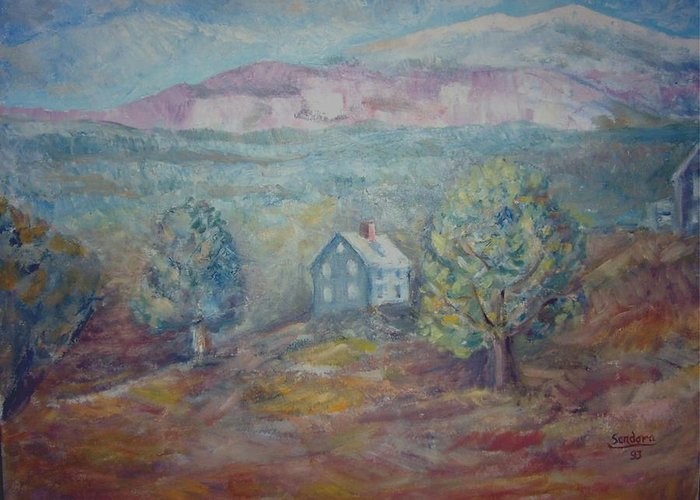 Landscape Mountain House Land  Greeting Card featuring the painting House On Ountain P2 by Joseph Sandora Jr