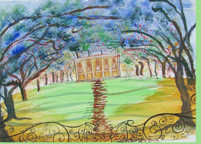 Landscape Greeting Card featuring the painting House On The Hill by Geraldine Liquidano