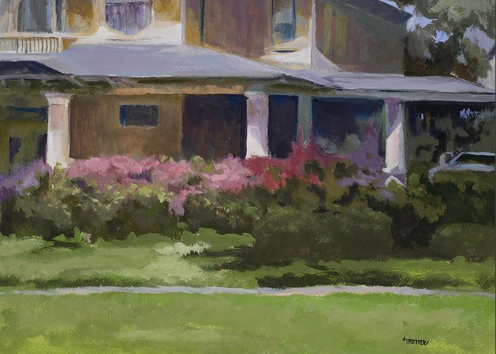 House Greeting Card featuring the painting House With Azaleas by Jimmie Trotter